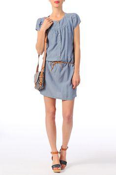 Robe ceinturée Agostina Bleu Sessun sur MonShowroom.com