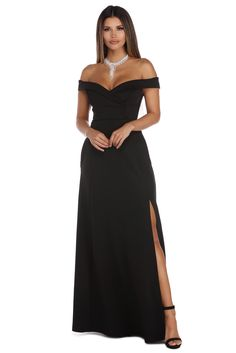 4242c53f1f56b Noelle Black Off The Shoulder Ball Gown