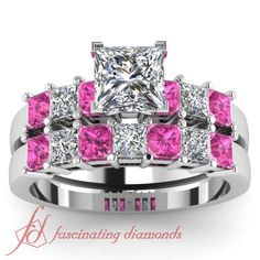 2 Ct Princess Cut Diamond Pink Sapphire Charming Engagement Wedding Rings Set | eBay