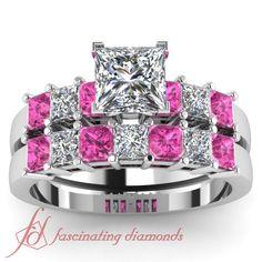 2 Ct Princess Cut Diamond Pink Sapphire Charming Engagement Wedding Rings Set | eBay