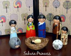 10-Piece Korean Nativity Set - Hand Painted - Wood Peg - Collectible - Keepsake