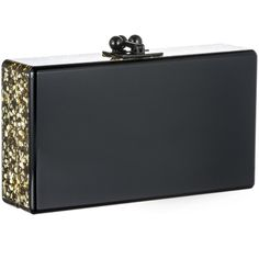 Edie Parker Black Jean Clutch With Gold Confetti Ribbon ($1,095) ❤ liked on Polyvore featuring bags, handbags, clutches, gold handbag, black clutches, box clutch, black handbags and gold clutches