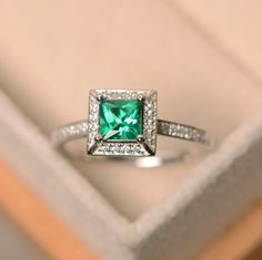 Emerald ring princess cut emerald emerald engagement by LuoJewelry