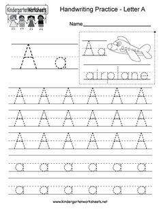 Kindergarten Letter A Writing Practice Worksheet. This series of handwriting alphabet worksheets can also be cut out to make an original alphabet booklet. Enjoy!