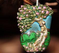 Lampwork Glass Focal Goddess Tree Pink Blue by HoneyBearBeads