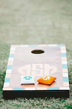 monogrammed cornhole... love this set! | Amy Arrington #wedding