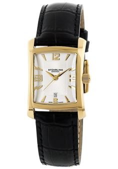Stuhrling Original Women's Lady Gatsby Classic Swiss Quartz Date Goldtone Watch, (classic watch, nice watch, seiko watches) Seiko Watches, Cool Watches, Wrist Watches, Square Watch, Coach Handbags, Art Deco Fashion, Gatsby, Fashion Watches, Quartz