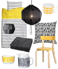 Yellow and black in decor