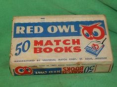 Red Owl brand Full Box of 50 Matchbooks! Owl Food, Red Owl, Grocery Store, Vintage Designs, Box, Glass, Snare Drum, Drinkware, Boxes