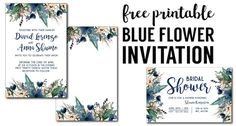 Blue Printable Invitation Templates. Free invitation templates for blue wedding, bridal shower, baby shower, birthday party, or graduation party invitation.
