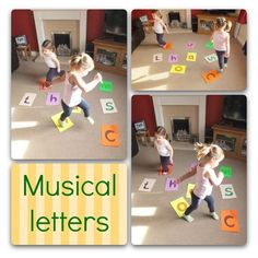 Place the letters around the floor for the children to dance around. Play music. When the music stops, shout out a letter and the children have to find and sit on that letter. Best to use easy letters first, then as the children learn, you can introduce more difficult letters like b and d. Can also use this game for numbers instead of letters, or maybe sight words once they've got their letters sussed.