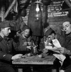 French soldiers resting in a shelter of the Maginot Line defence system France January 1940