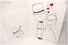 kartucha ślubna to ręcznie rysowana kartka wraz z kopertą, idealna do wręczenia Parze Młodej w dniu ślubu. Może także służyć jako zaproszenie lub podziękowanie dla rodziców. Autorska grafika...