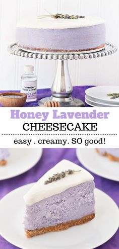 This honey lavender cheesecake has the most amazing flavor and is very easy to make. It's also got the best creamy texture. You will definitely be going back for a second piece! Easy Gluten Free Desserts, Homemade Desserts, Easy Desserts, Homemade Cheesecake, Cheesecake Recipes, Delicious Desserts, Baking Recipes, Cookie Recipes, Dessert Recipes