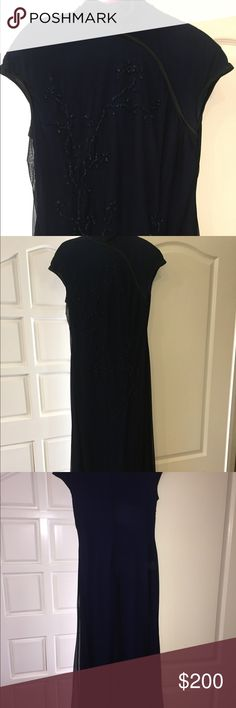 Navy Evening Gown Tadashi Evening Gown with beautiful beaded detail.   Bought at Neiman Marcus   Color: Navy Size: Medium  Great Condition Tadashi Shoji Dresses