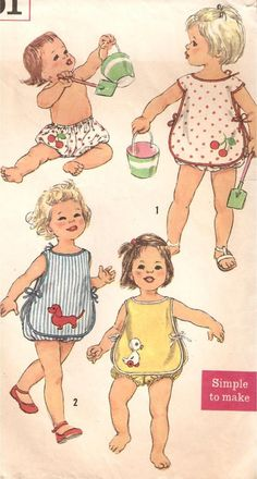 Vintage Toddler Sunsuit Sewing Pattern with Transfers Sewing Patterns Girls, Sewing For Kids, Baby Sewing, Baby Patterns, Vintage Patterns, Patron Vintage, Vintage Wardrobe, Heirloom Sewing, Retro