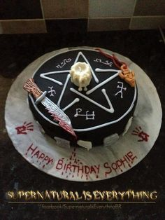This is the birthday cake I want this year :D  It needs to be a Red Velvet cake. You will also need to search for the mark of Cain to put on the base with the handprints.