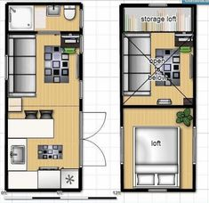 ISBU Tiny House Render - floorplan (shipping container home) - To connect with us, and our community of people from Australia and around the world, learning how to live large in small places, visit us at /TinyHousesAustralia Tiny House Plans, Tiny House On Wheels, House Floor Plans, Container Home Designs, Tyni House, Tiny House Living, Tiny House Movement, Shipping Container House Plans, Shipping Containers