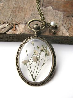 White Baby Breath Resin Necklace - Real flowers in resin  in open back Bezel, Pressed Flower Jewelry - Resin Necklace - Resin Jewelry