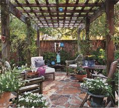 "A little structure makes a patio feel like an outdoor room. Consider a paved or loose-stone floor, and use the house or a fence for a sidewall or two and a pergola or tree boughs for a ""roof."" A pergola offers sun protection without blocking breezes, whi Pergola Patio, Backyard Patio, Backyard Landscaping, Modern Pergola, Small Pergola, Wedding Pergola, Rustic Pergola, White Pergola, Corner Pergola"