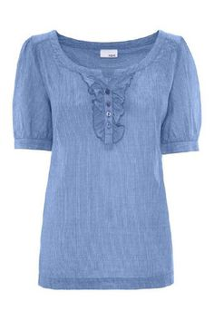 Next Blue Stripe Frill Ruffle Blouse Shirt Top UK 8 US 4 BNWT Sold Out ASO | eBay