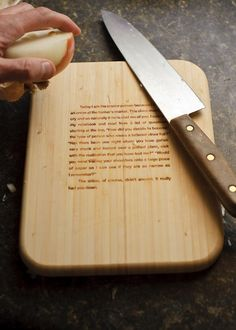 """Onion cutting board. Instructions on how to cry. it would be cool to have cutting boards with poems about food (ex: Paul Valéry """"Les grenades"""")"""