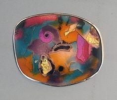 """Brosche """"Carneval"""", Nassemail, Goldfolie, Kastenfassung Silber935, ca 4 x 5 cm"""