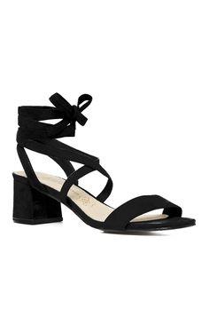 Primark - Sandales noires à lacets et talon carré Primark 940e196ddff3