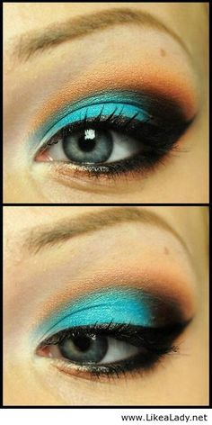 turquoise blue black orange eyeshadow