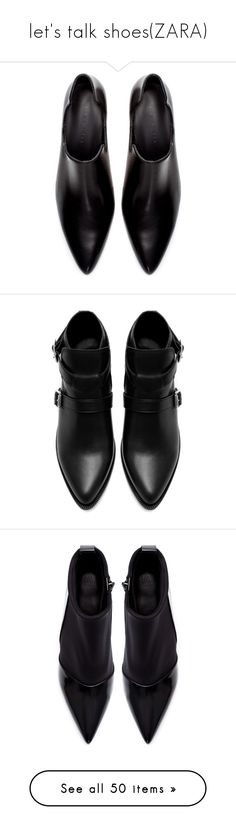 """""""let's talk shoes(ZARA)"""" by p3rfume ❤ liked on Polyvore featuring shoes, boots, ankle booties, black, black leather ankle booties, leather ankle boots, leather booties, black bootie boots, black leather bootie and zara"""