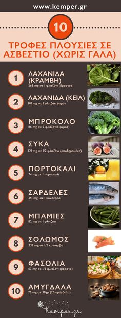 Τροφές πλούσιες σε ασβέστιο - Foods rich in calcium - foods-rich-in-calcium Calcium Diet, Calcium Rich Foods, High Calcium, Health Diet, Health And Wellness, Health Fitness, Herbal Remedies, Natural Remedies, Healthy Tips