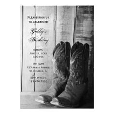 Rustic Cowboy Boots Country Birthday Party Invite