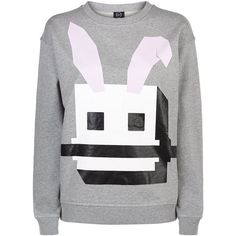 McQ Alexander McQueen Bunny Print Jersey Sweater ($305) ❤ liked on Polyvore featuring tops, sweaters, over sized sweaters, oversized sweaters, oversized jersey top, jersey tops et jersey sweater
