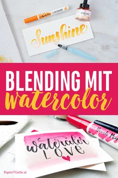 Blending mit Watercolor, Brush Pen, Waterbrush, flüssige Wasserfarbe, Ecoline, Aquarell-Hintergrund #watercolor #brushlettering #handlettering #diy #lettering #ecoline Hand Lettering Alphabet, Calligraphy Letters, Lettering Tutorial, Paint Pens, Grafik Design, Brush Pen, Letterpress, Colored Pencils, Markers