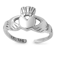 8mm Silver Toe Ring Oxidized Irish Claddagh Heart 925 Sterling Silver Toe Ring Adjustable Toe Simple Plain Her Ladies Jewelry Toe Ring