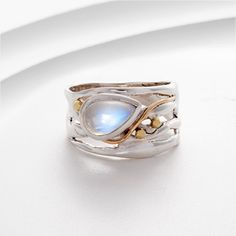 Moonstone, silver, gold filled & brass detail ring on Etsy, I Love Jewelry, Metal Jewelry, Jewelry Art, Jewelry Gifts, Jewelry Accessories, Jewelry Design, Unique Jewelry, Handmade Silver Jewellery, Silver Jewelry