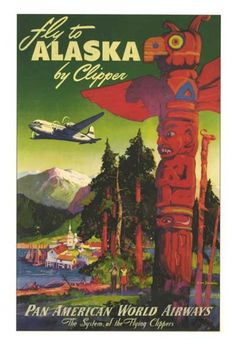 Pan American World Airways vintage Alaska travel poster
