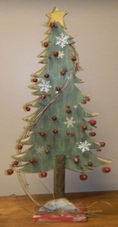 """Primitive Distressed Green Wooden Christmas Tree with Red Bells 24"""" H # 5785"""