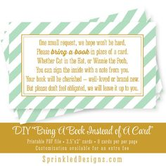 Bring A Book Instead Of A Card  Mint Green Gold by SprinkledDesign