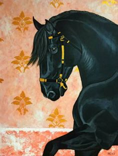 """Saatchi Art Artist Dominique Janssens - DEAU; Painting, """"'Murgese' Horse  - Old Italian wall"""" #art #murgese #horse #acrylic #gold #venetian #italian #italy #milan #neapolitan #napoli #portraiture #equine #equestrian #black #red #coral #baroque #classic #fineart #pastels #charcoal"""