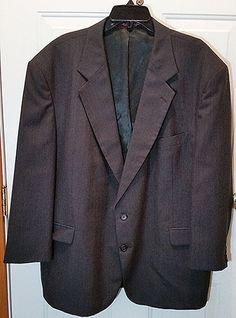Mens Suit Coat 50 R Charcoal Gray Sport Jacket Blazer Brusnwick Poly/Wool MB2…