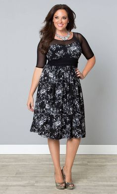 Get your plus size Twirl and Swirl Cocktail Dress on sale now! www.kiyonna.com #KiyonnaPlusYou #MadeintheUSA #Mesh #IllusionNeckline