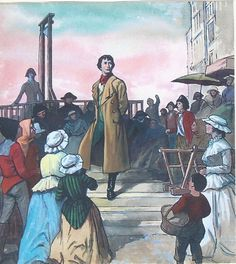 """What writer doesn't want to weigh in on the French Revolution? Dickens fell in love with a golden-haired girl, and built his Tale of Two Cities story around her & doomed antihero Sydney Carton. I blogged March 27, 2015, with """"A Dickens of a take on revolution."""" Image by Ralph Bruce, via wikimedia commons."""