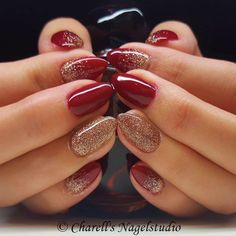 Dark Red with Rosé Gold Glitter Nails