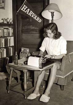 A student studies in her dorm room, Massachusetts, ca. 1950s