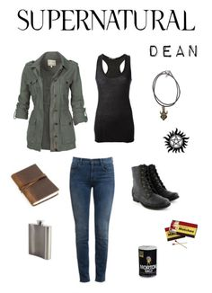 I already have the black tank top, pants, and knowledge of how to make a temporary anti-possession tattoo (and the Castiel handprint). I know I can make the necklace. I just need the feminine army jacket and boots.