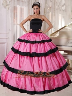 228d247c23a Sexy Rose Pink and Black Quinceanera Dress Strapless Taffeta Ball Gown-   197.02