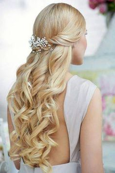 Back Wedding Hairstyles for Long Hair Half Up