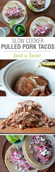 Simple Slow Cooker Pulled Pork Tacos #recipe on justataste.com