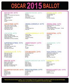Printable 2015 Oscar Ballot (with Scoring System)! — Academy Awards, February 22nd, 2015